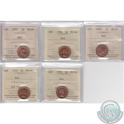 Lot of 5x Canada 1-cent ICCS Certified MS-64/65 Red Dated 1950, 1956, 1957, 1958 & 1959 MS-65. 5pcs