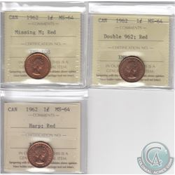 Lot of 3x Canada 1962 1-cent Error Variety Coins ICCS Certified MS-64 Red: Harp, Double 962 & Missin