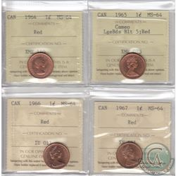 Lot of 4x Canada 1-cent ICCS Certified MS-64 Red Dated 1964, 1965 Large Beads Blunt 5, 1966 & 1967.