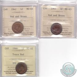 Lot of 3x Canada 1-cent ICCS Certified Coins: 1942 MS-62 Red and Brown, 1943 MS-63 Red and Brown & 1