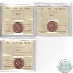 Lot of 3x Canada 1-cent ICCS Certified MS-64 Dated 1970, 1977 & 1979. 3pcs