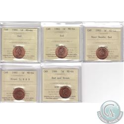 Lot of 5x Canada 1-cent ICCS Certified MS-64 Dated 1980, 1982, 1983 Near Beads, 1985 Blunt 5 Red and
