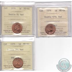 Lot of 3x Canada 1-cent Error Variety ICCS Certified MS-64 Dated 1978 Double 8, 1979 Double 979 & 19