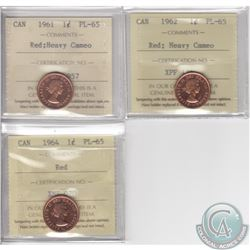 Lot of 3x Canada 1-cent ICCS Certified PL-65 Dated 1961 Heavy Cameo, 1962 Heavy Cameo & 1964. 3pcs