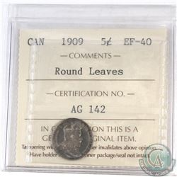 5-cent Canada 1909 Round Leaves ICCS Certified EF-40