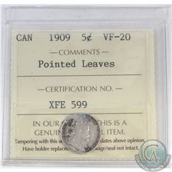 5-cent Canada 1909 Pointed Leaves ICCS Certified VF-20