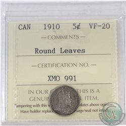 5-cent Canada 1910 Round Leaves ICCS Certified VF-20