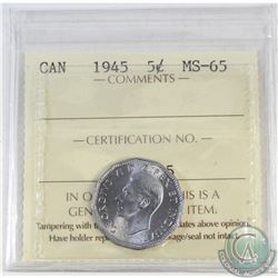 5-cent Canada 1945 ICCS Certified MS-65