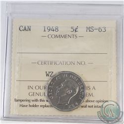 5-cent Canada 1948 ICCS Certified MS-63