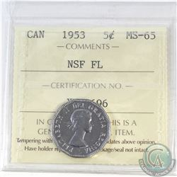 5-cent Canada 1953 NSF FL ICCS Certified MS-65