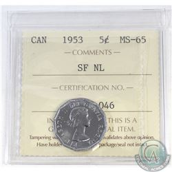 5-cent Canada 1953 SF NL ICCS Certified MS-65