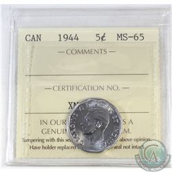 5-cent Canada 1944 ICCS Certified MS-65