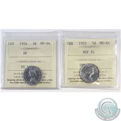 Lot of 2x Canada 5-cent ICCS Certified MS-64: 1953 NSF FL & 1954 SF. 2pcs
