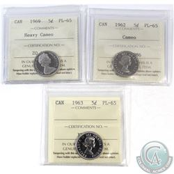 Lot of 3x Canada 5-cent ICCS Certified PL-65 Dated 1962 Cameo, 1963 & 1969 Heavy Cameo. 3pcs