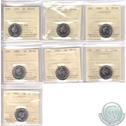 Lot of 7x Canada 5-cent ICCS Certified MS-64 Dated 1964, 1967, 1970, 1980, 1981, 1983 & 1989. 7pcs