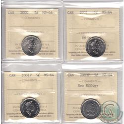 Lot of 4x Canada 5-cent ICCS Certified MS-64 Dated 2000, 2001, 2001P & 2003P New Effigy. 4pcs