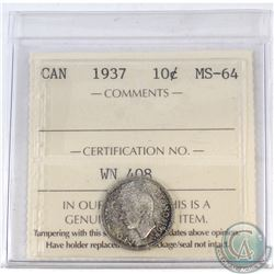 10-cent Canada 1937 ICCS Certified MS-64