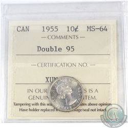10-cent Canada 1955 Double 95 ICCS Certified MS-64