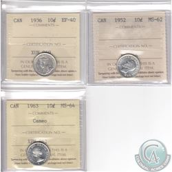Lot of 3x Canada Silver 10-cent ICCS Certified Coins. You will receive 1936 EF-40, 1952 MS-62 & 1963