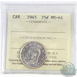25-cent Canada 1945 ICCS Certified MS-64