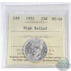 25-cent Canada 1951 High Relief ICCS Certified MS-64
