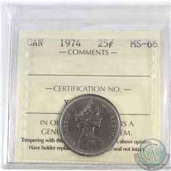 25-cent Canada 1974 ICCS Certified MS-66
