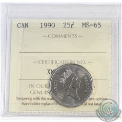 25-cent Canada 1990 ICCS Certified MS-65