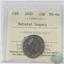 25-cent Canada 2000 Natural Legacy ICCS Certified MS-66