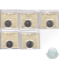 Lot of 5x Canada 25-cent ICCS Certified MS-64 Dated 1980, 1981, 1983, 1985 & 1988. 5pcs