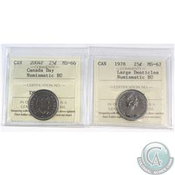 Lot of 2x Canada 25-cent ICCS Certified Numismatic BU: 1978 Large Denticles MS-67 & 2004P Canada Day