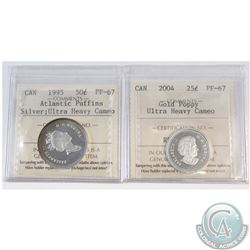 Lot of 2x Canada Silver ICCS Certified PF-67 Ultra Heavy Cameo Coins: 2004 25-cent Gold Poppy & 1995