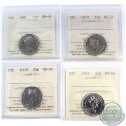 Lot of 4x Canada 25-cent ICCS Certified MS-64 Dated 1970, 1981, 1993 & 2002P. 4pcs