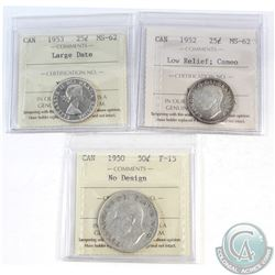 Lot of 3x Canada 25-cent/50-cent ICCS Certified Coins: 25-cent 1952 Low Relief MS-62 Cameo, 25-cent