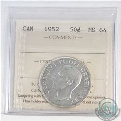 50-cent Canada 1952 ICCS Certified MS-64