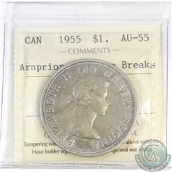 Silver $1 Canada 1955 Arnprior with Die Breaks ICCS Certified AU-55
