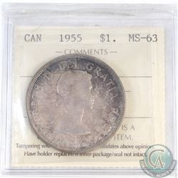 Silver $1 Canada 1955 ICCS Certified MS-63