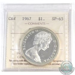 Silver $1 Canada 1967 ICCS Certified SP-65 Cameo