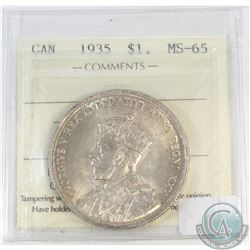 Silver $1 Canada 1935 ICCS Certified MS-65