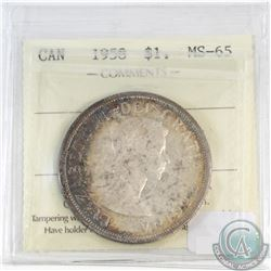 Silver $1 Canada 1958 ICCS Certified MS-65