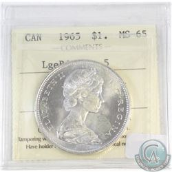Silver $1 Canada 1965 Large Beads Blunt 5 ICCS Certified MS-65