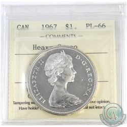 Silver $1 Canada 1967 ICCS Certified PL-66 Heavy Cameo