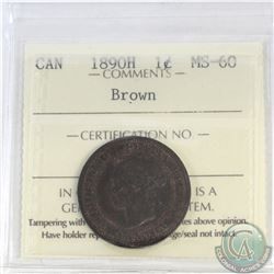 1-cent Canada 1890H ICCS Certified MS-60 Brown