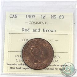 1-cent Canada 1903 ICCS Certified MS-63 Red and Brown