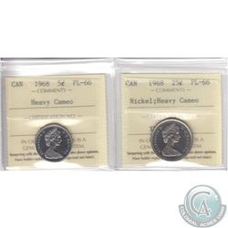 5-cent & 25-cent Canada 1968 ICCS Certified PL-66 Heavy Cameo. 2pcs