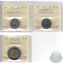 Lot of 3x Canada Error ICCS Certified Coins: 1967 5-cent MS-63 Planchet Flaw, 1977 5-cent Double Die