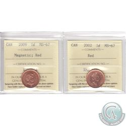 Lot of 2x 1-cent Canada ICCS Certified MS-67 Red Dated 2002 & 2009 Magnetic. 2pcs