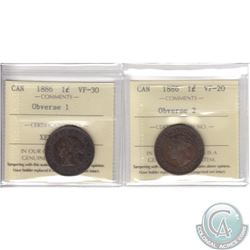 Lot of 2x 1-cent Canada 1886 ICCS Certified Coins: Obverse 1 VF-30 & Obverse 2 VF-20. 2pcs