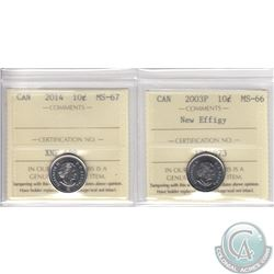 Lot of 2x 10-cent Canada ICCS Certified Coins: 2003P New Effigy MS-66 & 2014 MS-67. 2pcs