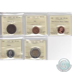 Lot of 5x Canada ICCS Certified Coins: 1859 1-cent Narrow 9 EF-40, 1946 1-cent MS-64 Red, 1971 1-cen