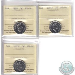 Lot of 3x 10-cent Canada ICCS Certified MS-66 Dated 1999, 2001P & 2003P. 3pcs